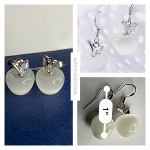 White Frosted Glass Apple Earrings